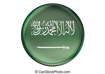 Badge with flag of Saudi Arabia, 3D rendering