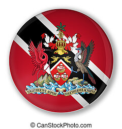 Illustration of a badge flag of Trinidad and Tobago with shadow