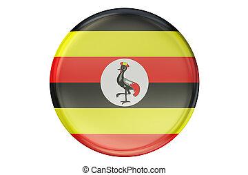Badge with flag of Uganda, 3D rendering