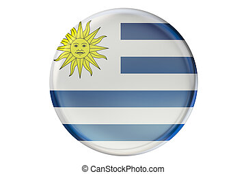 Badge with flag of Uruguay, 3D rendering