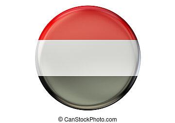 Badge with flag of Yemen, 3D rendering