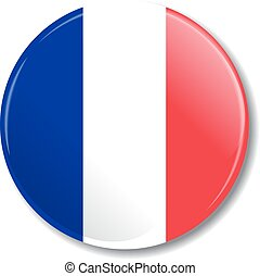 Badge with French flag. Vector illustration.