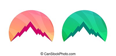 Badge with Mountains isolated on white background. Set of Colorful Vector illustration for Travel Tour.