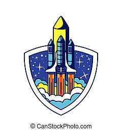 badge with one rocket in it on a white background
