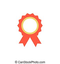 badge with red ribbon on white background