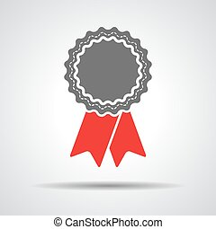 badge with red ribbons icon - vector illustration