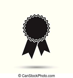 Badge with ribbon icon. Vector illustration in flat style on white background.
