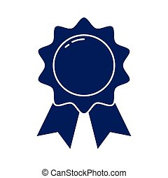badge with ribbon, silhouette style icon