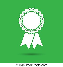 badge with ribbons icon on green background - vector illustratio