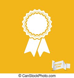 badge with ribbons icon on yellow background - vector illustrati