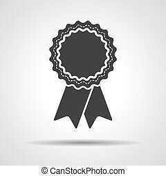 badge with ribbons icon - vector illustration