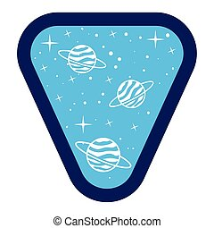 badge with saturn in it on a white background