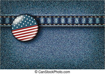 Badge with the American flag