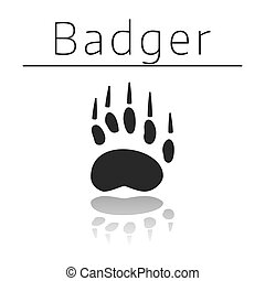 Badger animal track with name and reflection on white ...