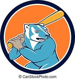 Badger Baseball Player Batting Circle Cartoon