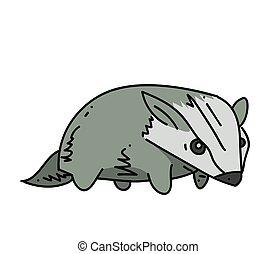 Badger cartoon hand drawn image