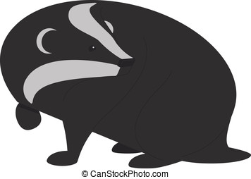 Badger - Vector illustration of a Badger hunting a small...