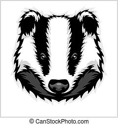 Badger Head black and white - vector illustration