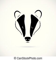 Badger head vector illustration in black, isolated on white background.