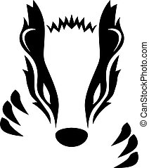 Sharp and simple, black and white, badger head with claws vector graphic illustration