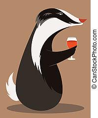 Badger Wine Taster - Old Badger tasting red wine.