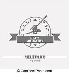 badges., グラフィック, 大砲, テンプレート, 軍, ロゴ