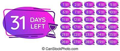 badges., セット, カウンター, 時計, 日々, イラスト, 時, 秒読み, 砂, ベクトル, 数, clocks, メモ, 左, バッジ, 日, 砂時計