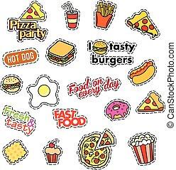 badges., ファッション, パッチ, 80s-90s, isolated., set., パッチ, 速い, ピン, 食物, ベクトル, イラスト, コレクション, ステッカー, 漫画, trend., メモ, style., 漫画, 手書き