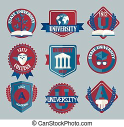 badges., 学校, セット, 大学, ベクトル, 大学