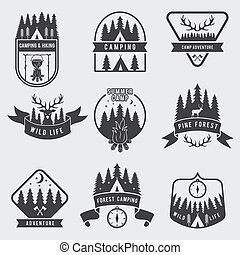 badges., 屋外, シルエット, 探検家, キャンプ, set., ラベル, 鹿, 森林, ベクトル, 黒, 冒険, モノクローム, illustration., テント