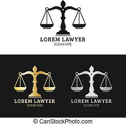 badges., 正義, ロゴ, 法律, 提唱者, illustration., オフィス, セット, スケール, 弁護士, ベクトル, ラベル, 会社, 型, 司法上