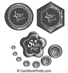 Badges and Lables part 3 - Badges vector Handrawn chalk...