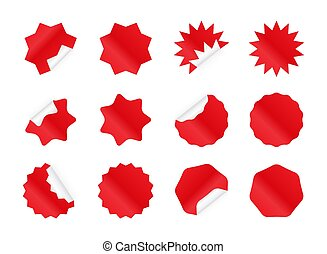 badges., autocollant, starburst, vide, sunburst, set., rouges