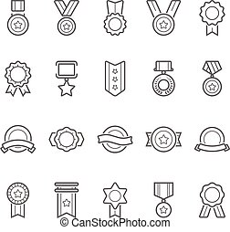 Badges awards vector outline stroke