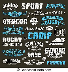 Badges baseball and rugby college team