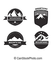badges., berg, set, vector, etiketten