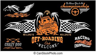 badges., conjunto, coche, off-road, suv, emblemas