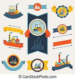 badges., costruzioni, industriale, fabbrica, bandiere,...