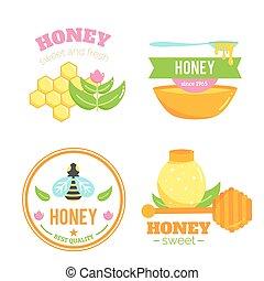 badges., elements., abelha, mel, logotipo, design.