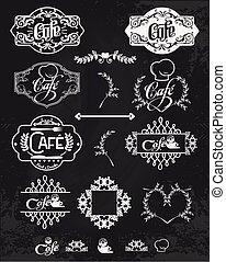 badges., ensemble, éléments, vendange, étiquettes, illustration, emblèmes, vecteur, conception, logo, café, style.