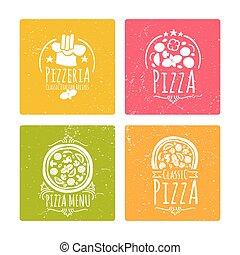 badges., ensemble, étiquettes, ou, vecteur, bannières, café, pizzeria, pizza
