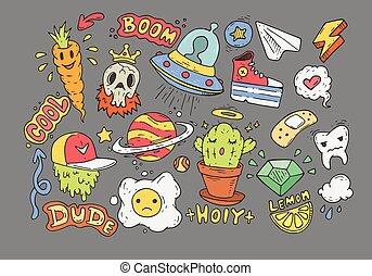badges., ensemble, comique, stickers., doodles., dessin animé