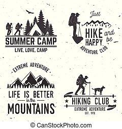 badges., ensemble, montagnes, quote., typographique, apparenté, aventure, extrême