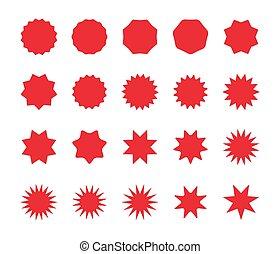 badges., ensemble, offre, coût, starburst, vente, escompte, vide, autocollants, tag., rouges