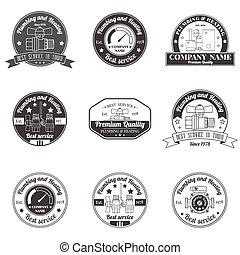 badges., ensemble, ton, business, company., concept, vendange, élégant, étiquettes, chauffage, signe, logo, plomberie, design.for, services, monochrome, constitué, template., identité