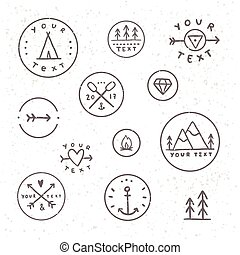 badges., ensemble, tribe., camping, extérieur, main, dessiné