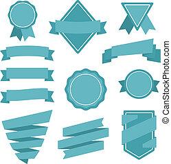 badges., estilo, vector, pegatinas, plano