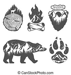 badges., exposure., 戶外, 自然, 雙, concept., 野生動物, 手, 顏色, 黑色, 荒野, 畫, 白色