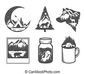 badges., exposure., esterno, natura, doppio, concept., fauna, mano, colori, nero, selvatico, disegnato, bianco