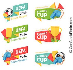 badges., football, collection, tasse